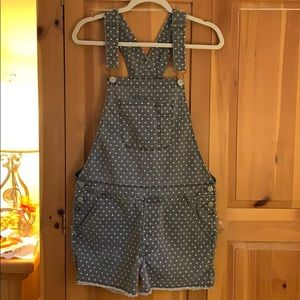 Medium Grey American Eagle Polka Dot Overalls